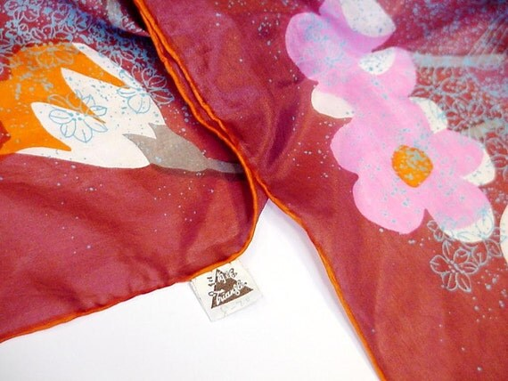 Vintage Silk Scarf Hand Printed Autumn Floral Brownish Rust Hand Rolled Hem Neck Scarf China itsyourcountryspirit