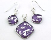 Wire Wrapped Purple Dichroic Glass with Silver Dragonflies Pendant and Earring Set