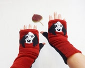 Your Dog Custom Fingerless Gloves with Pockets. Gift for Dog Lovers.