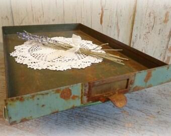industrial file cabinet drawer / office desk top storage / paper storage tray / vintage green / rustic