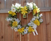 Spring/Summer Heart Shaped Floral Wreath