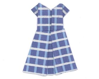 Origami Paper Dress Blue Plaid