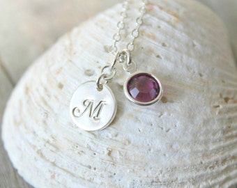 Personalized sterling silver necklace with custom stamped initial disc & Swarovski Birthstone, monogram, letter, Bridesmaids Gift,disc charm