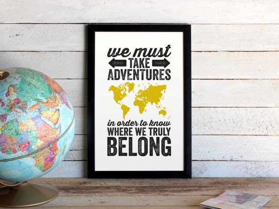 Adventures world map travel poster we must take adventures like this item gumiabroncs Gallery