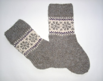 Hand Knitted Wool Socks -Patterned Womens Socks-Size Medium -WUS7/EU38/ US8/EU39