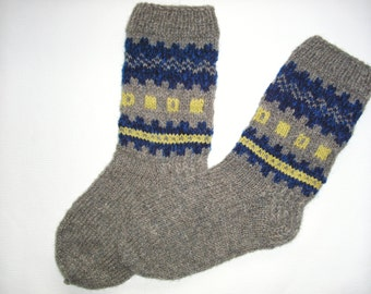 Hand Knitted Wool Socks For Men-Colorful socks-Size LargeUS 11-EU 44/ US 11,5,EU45