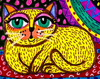 Whimsical Art, Cat Art Print, Yellow Cat Art, Folk Art Cat, Yellow And Purple, Kids Room Decor, Funny Cat Art, Whiskers by Paula DiLeo_72210