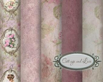 Floral Digital Papers: Antique Paper, Digital backdrop, Textured scrapbook paper, Floral Background Paper No 1126