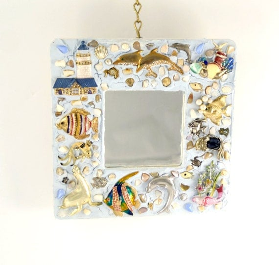 Jewelled Wall Decoration : Decorative wall mirror jeweled frame nautical decor seaside