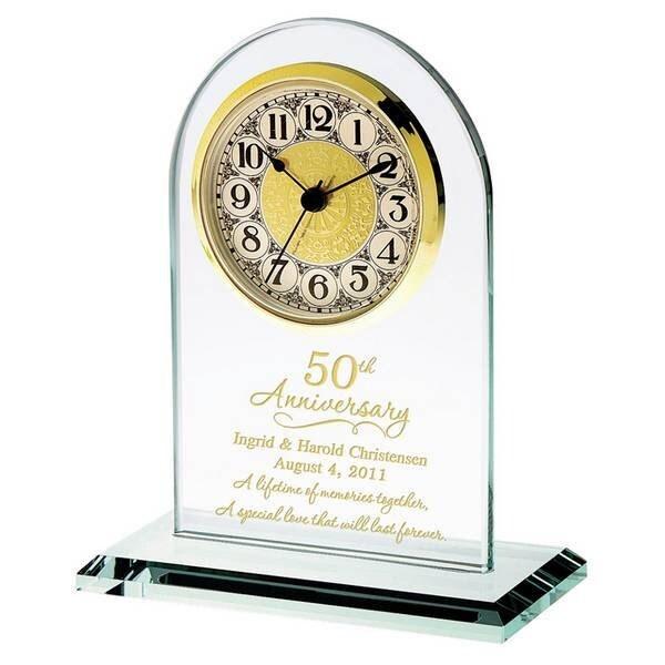 Wedding Clock Gift: 50th Wedding Anniversary Gold Glass Clock