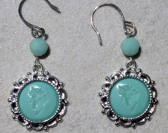 NOW 20% OFF! Mint Green/Turquoise Glass Intaglio Earrings
