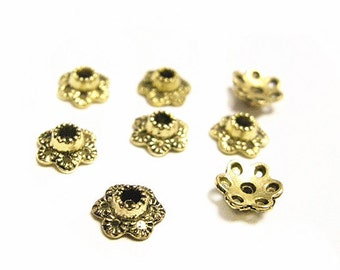 50pc 7mm antique gold finish metal beads caps-8389