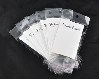 100 White Earring Display Cards W/Self Adhesive Bags-7579B
