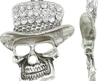 1pc antique silver alloy with rhinestone skull pendant-9503