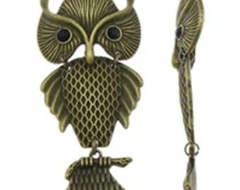 1pc 84x40mm antique bronze metal alloy  owl pendant-9523