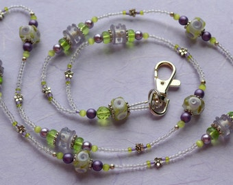 O O A K - Lampwork Glass Beaded Lanyard ID Badge Holder - ORCHID CORSAGE - G126