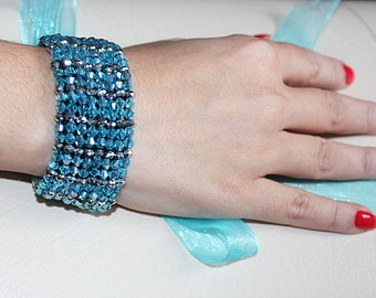 Blue Cuff, Turquoise Blue and Silver Gray, Elegant Cuff Bracalet, Original Handmade, Jewelry, Handmade, Christmas Gifts