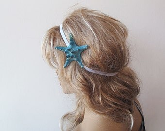 Starfish Elastic Headband, Starfish Hair Accessories, Blue Starfish, Beach Hair, Mermaid Hair, Beach Weddings, Beach Hair,