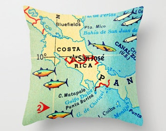 COSTA RICA Pillow Cover 18x18, Travel Gift for women, Wanderlust Gift, Decorative pillows for couch, Vintage Costa Rica map, Costa Rica gift