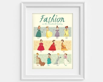 Fashion poster, dresses from the 19th century (12,60 x 18,10), print - Regency and Victorian fashion