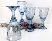 Noritake Crystal Sweet Swirl Light Blue Wine Glasses set of 4 Trending Vintage
