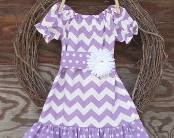 Girls Dress, Girls Purple Dress, Monogrammed Dress, Girls Peasant Dress, Kids Dress