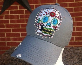 Sugar Skull/Day of the Dead Distressed Baseball Style Hat.... EXTRA Bling/Rhinestones