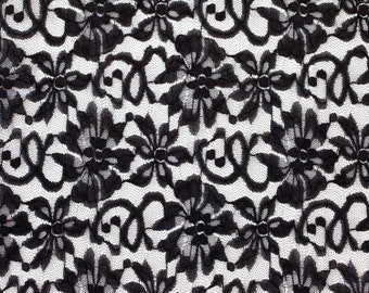 """3 Yards of Vintage 62"""" Embroidered Black Tulle Lace Fabric. Beautiful Floral and Vine Design. High Quality. Sewing. Black Lace. Item 1348F"""