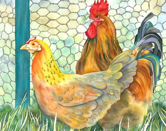 Chicken and Cockerel Farmyard Animals Limited Edition Giclee Signed Print
