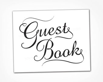 Black and White Wedding Guest Book Sign - INSTANT DOWNLOAD - Digital PDF File - Wedding Calligraphy Sign - Please Sign Our Guestbook Table