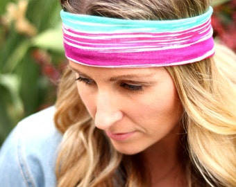 Buy1 Get1 Women's Headband in Summer Rainbow Colors, Boho headband, Head cover, Hair Wrap, or Head Wrap and Tapered Cut for Women and Teens