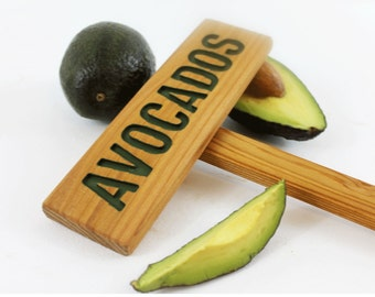 AVOCADOS Rustic Tree Sign, Hand Routed Sign, Plant Marker, Tree Marker, Custom Garden Sign, Personalized Garden Marker, Outdoor Garden Sign