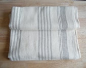 Natural Linen Bath Towel, Large Bath Sheet, Offwhite and Gray Ecru Stripe,  Bathroom, Spa, Sauna