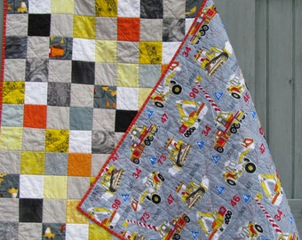 Modern Quilt Construction Building Boy Twin Yellow Gray