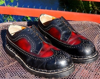Two Tone Brogues Vintage Gripfast Wingtip Shoes UK 8 Handcrafted Steel Toe Black Oxblood Red Hardcore Rockabilly Oxfords White & Co England