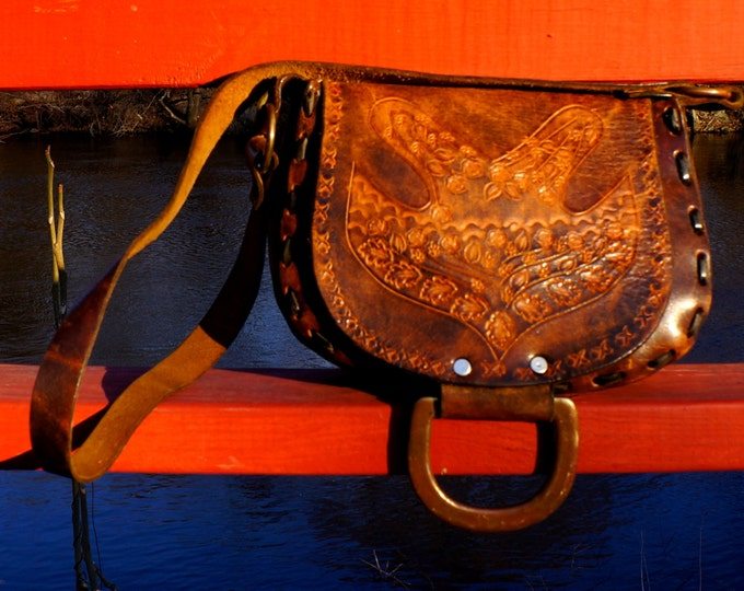 Hippie Bag 1970s Vintage Brown Leather Tooled Peace Dove Purse Cross Body Boho Shoulder Bag Hand Tooling Long Strap D Ring Flap Festival Bag