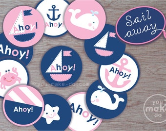 INSTANT DOWNLOAD nautical party circles, nautical baby shower, girl baby shower, nautical birthday, nautical printables, party printables