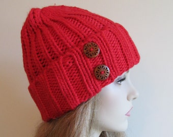 Red Knitted Beanie Hat with Two Wooden Buttons Womens Teens Girls Fall Winter accessory Hand Made Knit