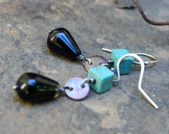 Sterling Silver Earrings, Clearance, Turquoise, Black Agate, Disc Earring, Oxidized Sterling, Wire Wrapped Jewelry, Black and Turquoise