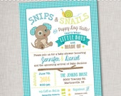Snips & Snails Baby Shower Invitation - Digital File or Printed Invitations with Envelopes - FREE SHIPPING