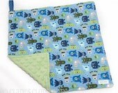 """Baby Lovey Blanket -  Blue and Green Monsters Lovey 15""""x15"""" - Ready to Ship"""
