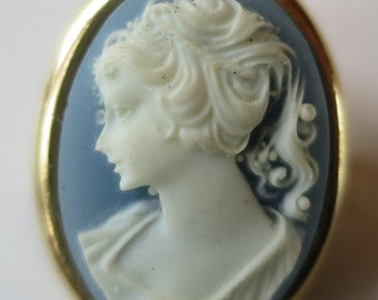 Blue base cameo brooch