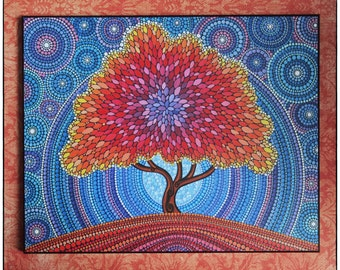 Colorful Print Laminated on woodblock- Autumn Tree