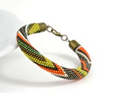 Urban chic - Beaded Bracelet  Bead Crochet  Bracelet Grey Green Orange Multi-Colored  Colorful  Minimalist Beadwork Jewelry