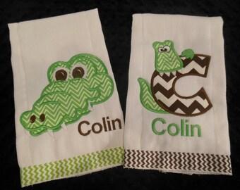 Alligator Burp cloth set
