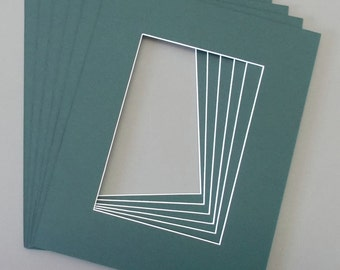 Package of  10 8x10  Pine Green Picture  Mats with White Core Bevel Cut for 5x7  Pictures