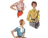 1950s Blouse Pattern Simplicity 4852, Unusual Horseshoe Yoke, Side Zipper, Long or Short Sleeves, Vintage Sewing Pattern Bust 30 Uncut
