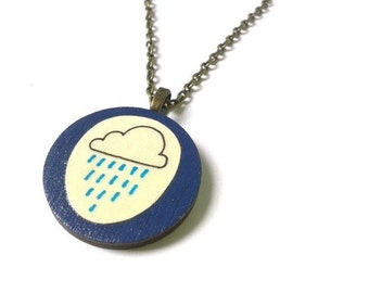 Illustrated Navy Blue Rain Cloud Neckalce