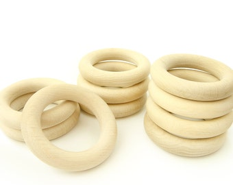 "10pcs Wooden Rings -  2 1/4"" Natural Unfinished Wooden Teething Rings"