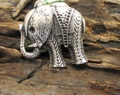 1 pcs findings - supplies - silver plated -elephant - charm - pendant - jewelry findings